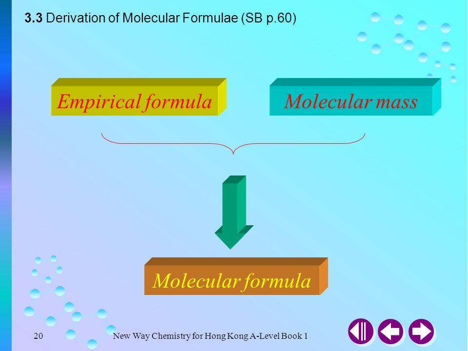 New Way Chemistry for Hong Kong A-Level Book 119 What is Molecular Formulae? Molecular formula = (Empirical formula) n ? 3.3 Derivation of Molecular F