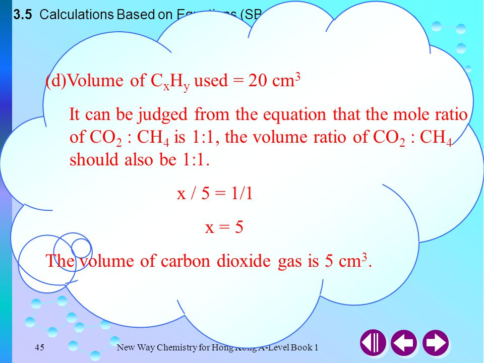 New Way Chemistry for Hong Kong A-Level Book 144 3.5 Calculations Based on Equations (SB p.68) (c)Volume of C x H y used = 20 cm 3 Volume of CO 2 form