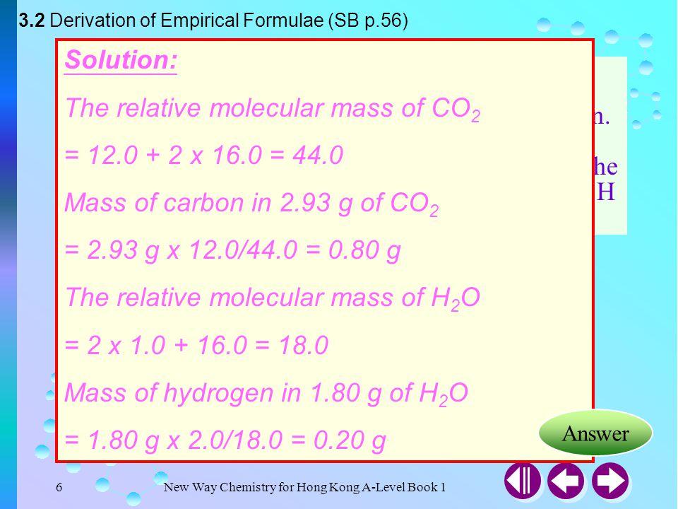 New Way Chemistry for Hong Kong A-Level Book 15 3.1 Formulae of Compounds (SB p.55) CompoundEmpirical formula Molecular formula Structural formula Car