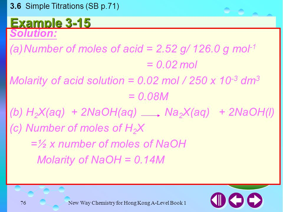 New Way Chemistry for Hong Kong A-Level Book 175 Answer Example 3-14 25.0cm 3 of sodium hydroxide solution was titrated against 0.067 M of sulphuric(V