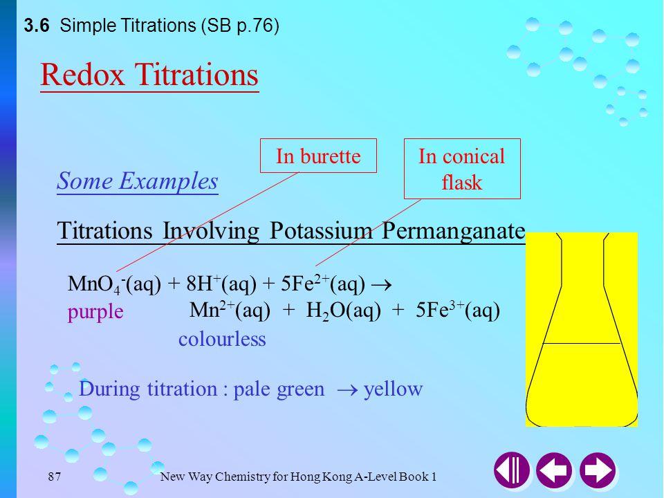 New Way Chemistry for Hong Kong A-Level Book 186 Titrations Involving Potassium Permanganate Some Examples MnO 4 - (aq) + 8H + (aq) + 5Fe 2+ (aq)  Mn