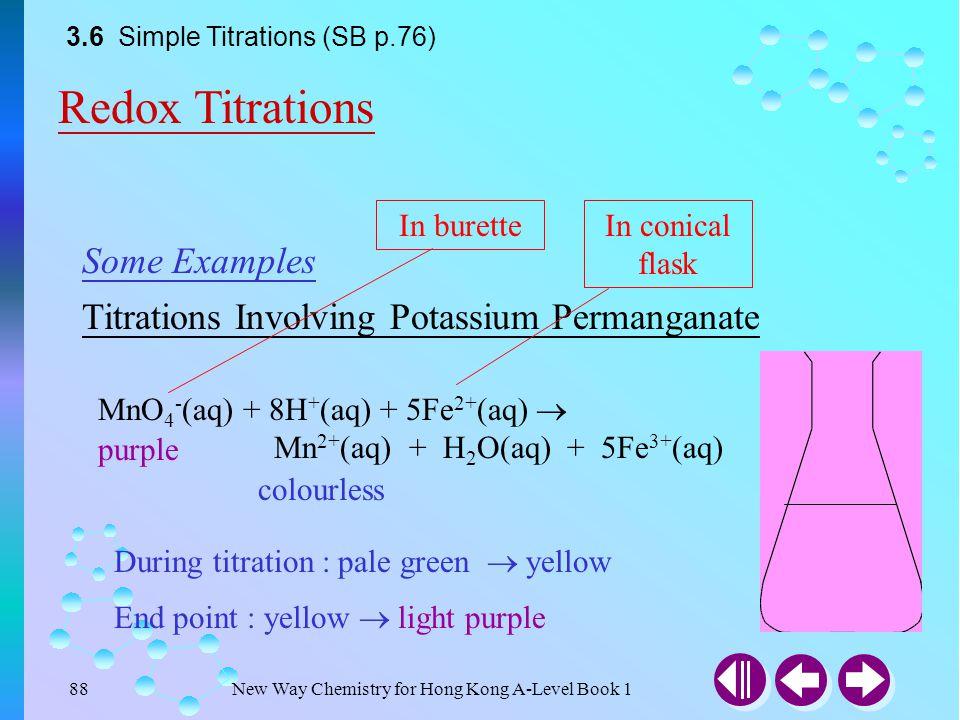 New Way Chemistry for Hong Kong A-Level Book 187 Titrations Involving Potassium Permanganate Some Examples MnO 4 - (aq) + 8H + (aq) + 5Fe 2+ (aq)  Mn