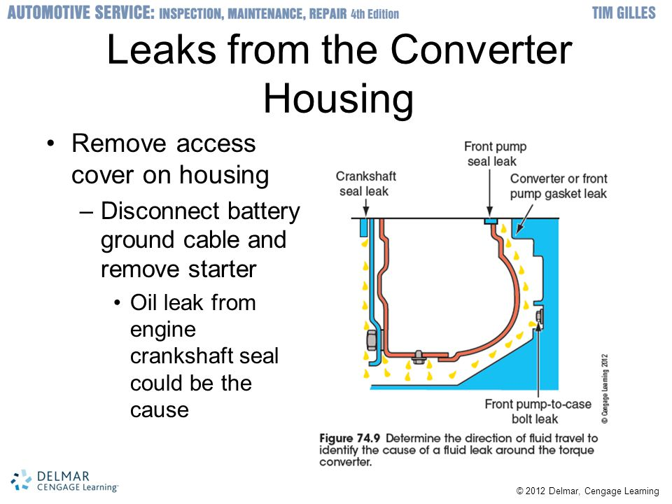 © 2012 Delmar, Cengage Learning Leaks from the Converter Housing Remove access cover on housing –Disconnect battery ground cable and remove starter Oi