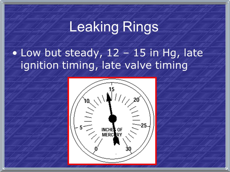 Leaking Rings Low but steady, 12 – 15 in Hg, late ignition timing, late valve timing