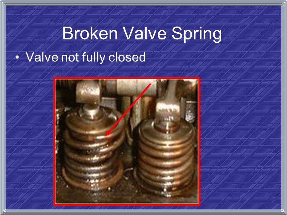 Broken Valve Spring Valve not fully closed