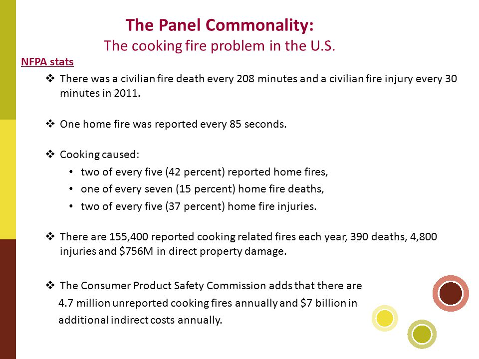 The Panel Commonality: The cooking fire problem in the U.S.