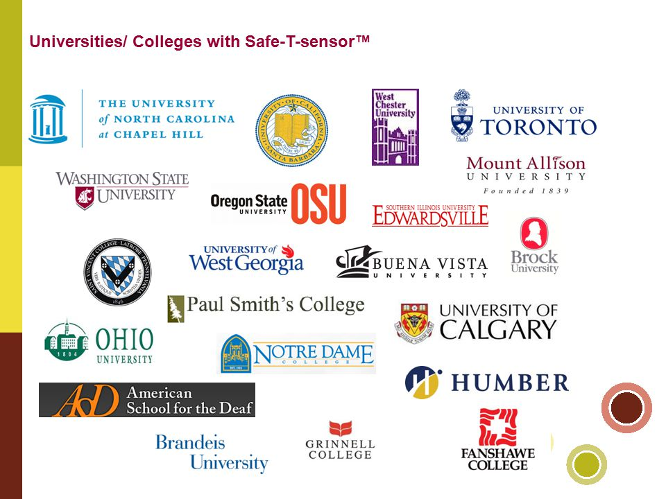 Universities/ Colleges with Safe-T-sensor™