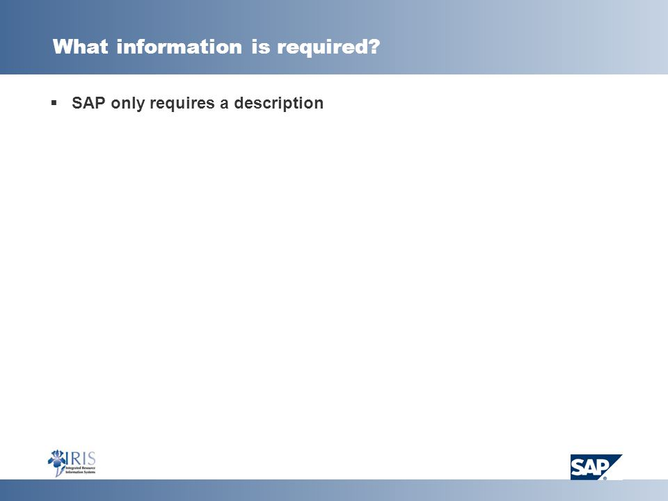 What information is required?  SAP only requires a description