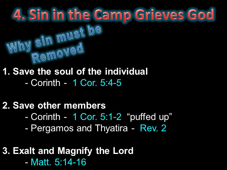 "1. Save the soul of the individual - Corinth - 1 Cor. 5:4-5 2. Save other members - Corinth - 1 Cor. 5:1-2 ""puffed up"" - Pergamos and Thyatira - Rev."