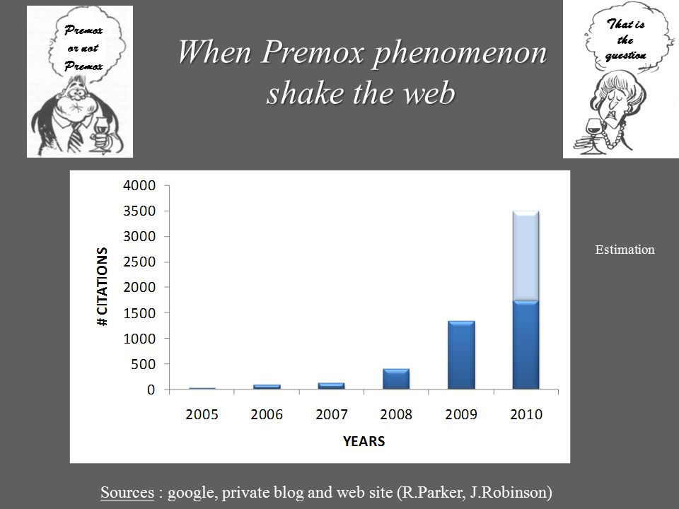Sources : google, private blog and web site (R.Parker, J.Robinson) Premox or not Premox That is the question When Premox phenomenon shake the web Esti