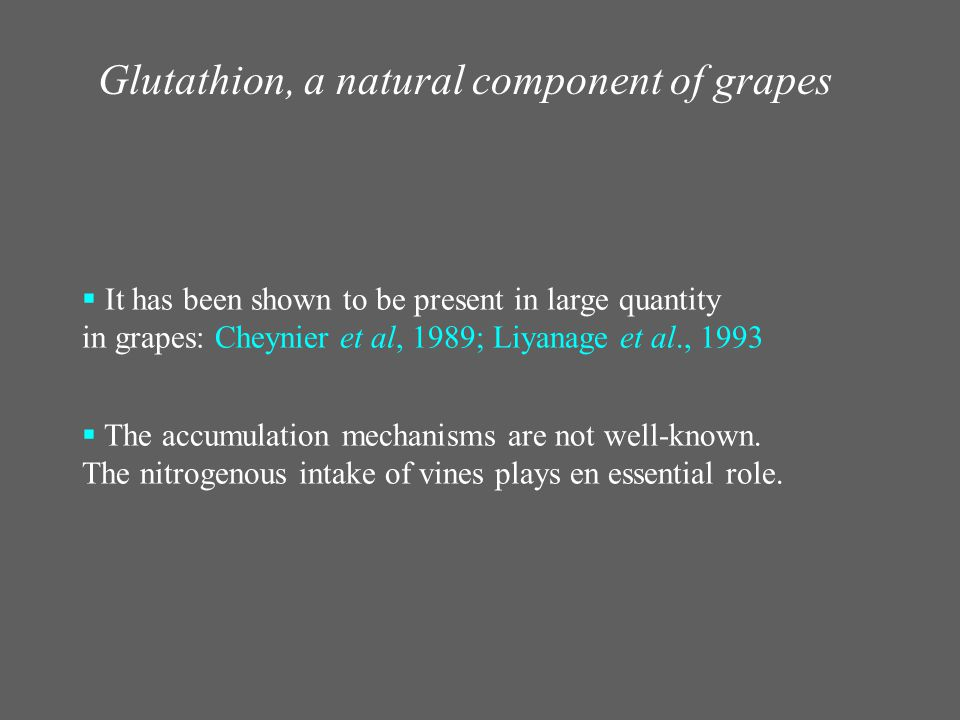 Glutathion, a natural component of grapes  It has been shown to be present in large quantity in grapes: Cheynier et al, 1989; Liyanage et al., 1993 