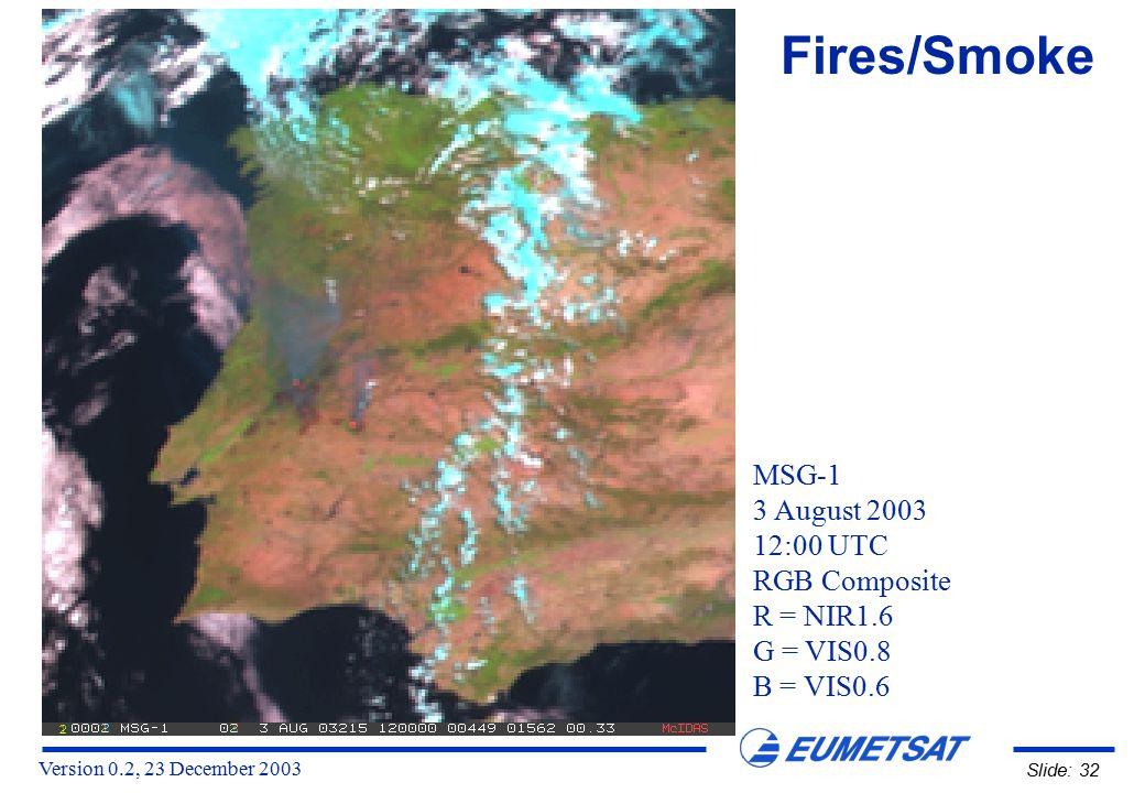 Version 0.2, 23 December 2003 Slide: 32 MSG-1 3 August 2003 12:00 UTC RGB Composite R = NIR1.6 G = VIS0.8 B = VIS0.6 Fires/Smoke
