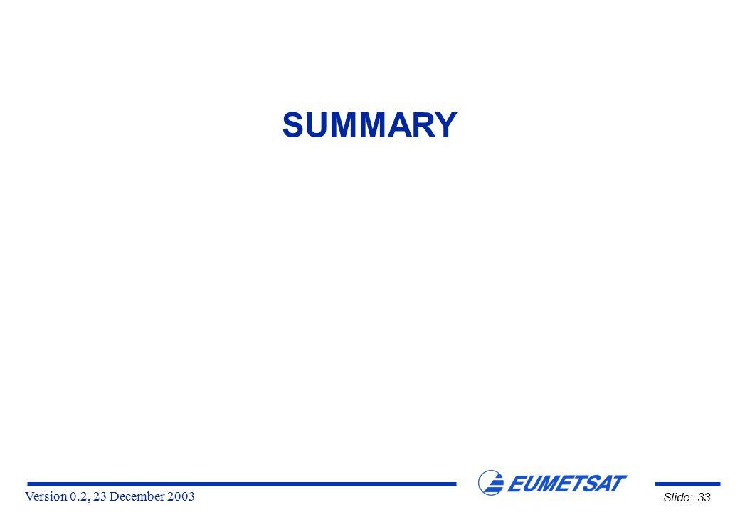 Version 0.2, 23 December 2003 Slide: 33 SUMMARY