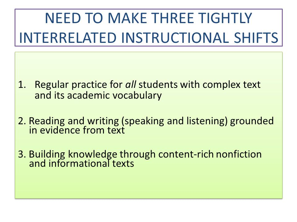 NEED TO MAKE THREE TIGHTLY INTERRELATED INSTRUCTIONAL SHIFTS 1.Regular practice for all students with complex text and its academic vocabulary 2.