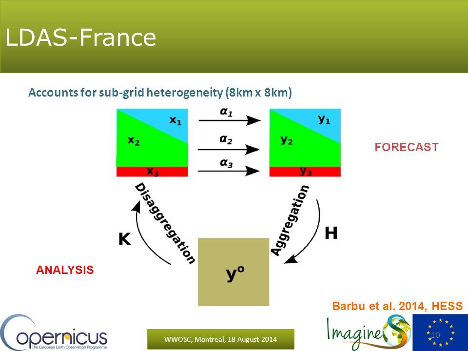 FORECAST ANALYSIS LDAS-France WWOSC, Montreal, 18 August 2014 10 Accounts for sub-grid heterogeneity (8km x 8km) Barbu et al.