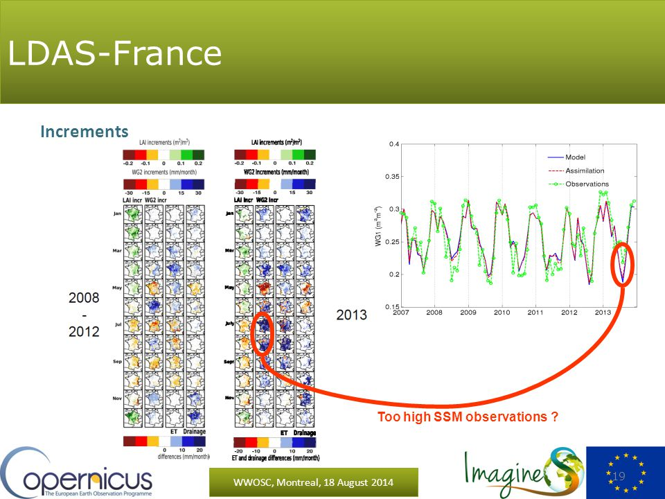 LDAS-France WWOSC, Montreal, 18 August 2014 19 Increments Too high SSM observations