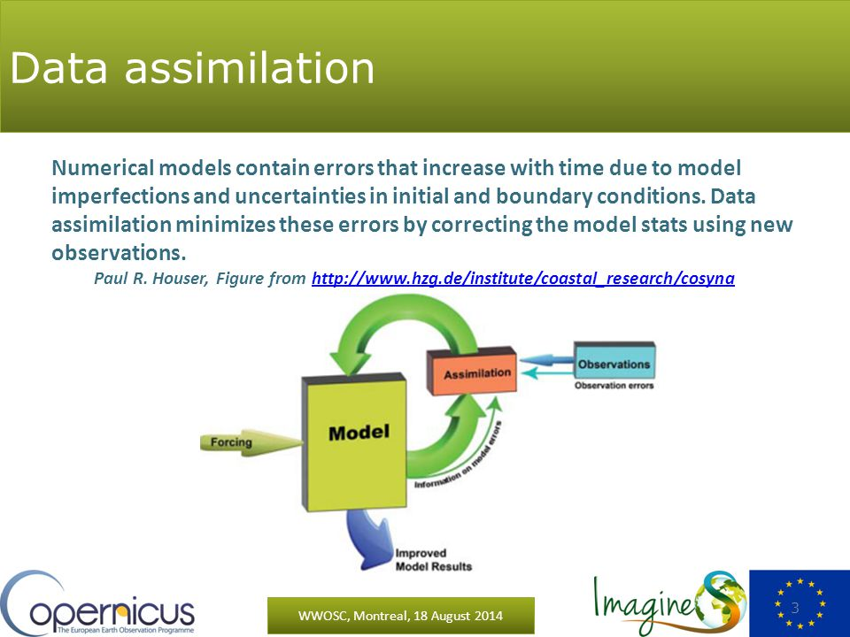 Data assimilation WWOSC, Montreal, 18 August 2014 3 Numerical models contain errors that increase with time due to model imperfections and uncertainties in initial and boundary conditions.
