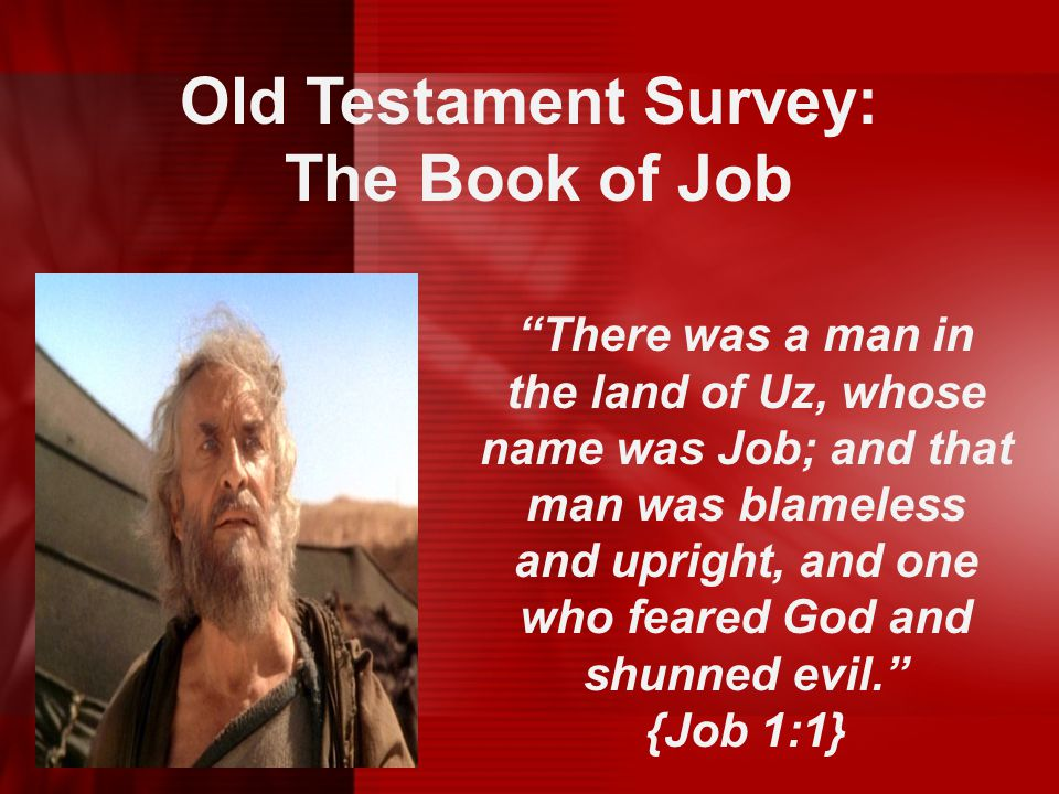"""Old Testament Survey: The Book of Job """"There was a man in the land of Uz, whose name was Job; and that man was blameless and upright, and one who fear"""