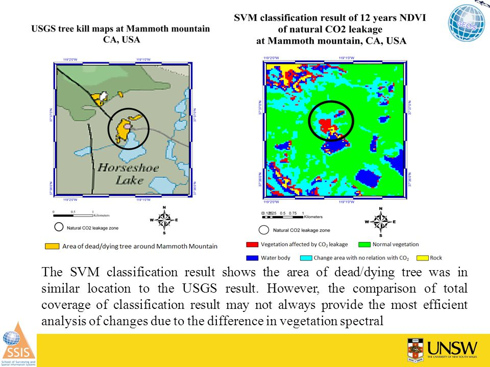 The SVM classification result shows the area of dead/dying tree was in similar location to the USGS result.
