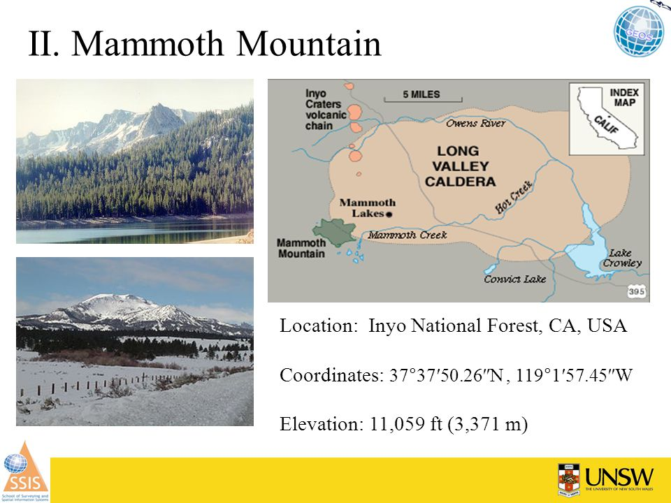 Natural CO 2 and Environmental impact Invisible CO 2 Gas Killing Trees at Mammoth Mountain, California (USGS, 2004 ) - In 1989, there was a swarm of small earthquake in the central region of the Sierra Nevada, CA and a dormant volcano is woke up after 760,000 years of sleeping - The swarm center was located beneath the mammoth mountain 2 km below the surface