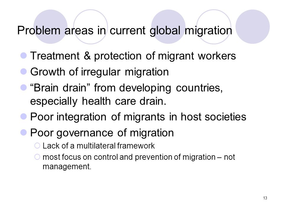"""13 Problem areas in current global migration Treatment & protection of migrant workers Growth of irregular migration """"Brain drain"""" from developing cou"""