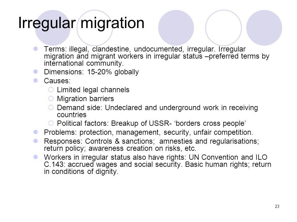 23 Irregular migration Terms: illegal, clandestine, undocumented, irregular. Irregular migration and migrant workers in irregular status –preferred te