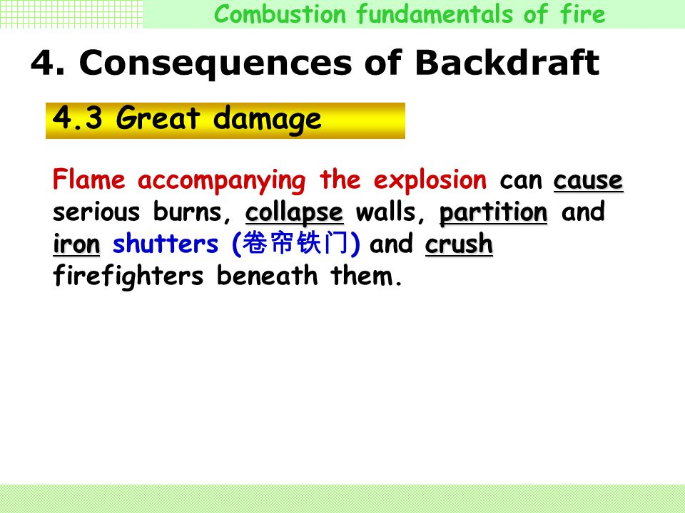 4. Consequences of Backdraft 4.2 Death and injure Explosions kill and injure firefighters in several ways. The blast ( 爆炸 ) can blow a firefighter acr