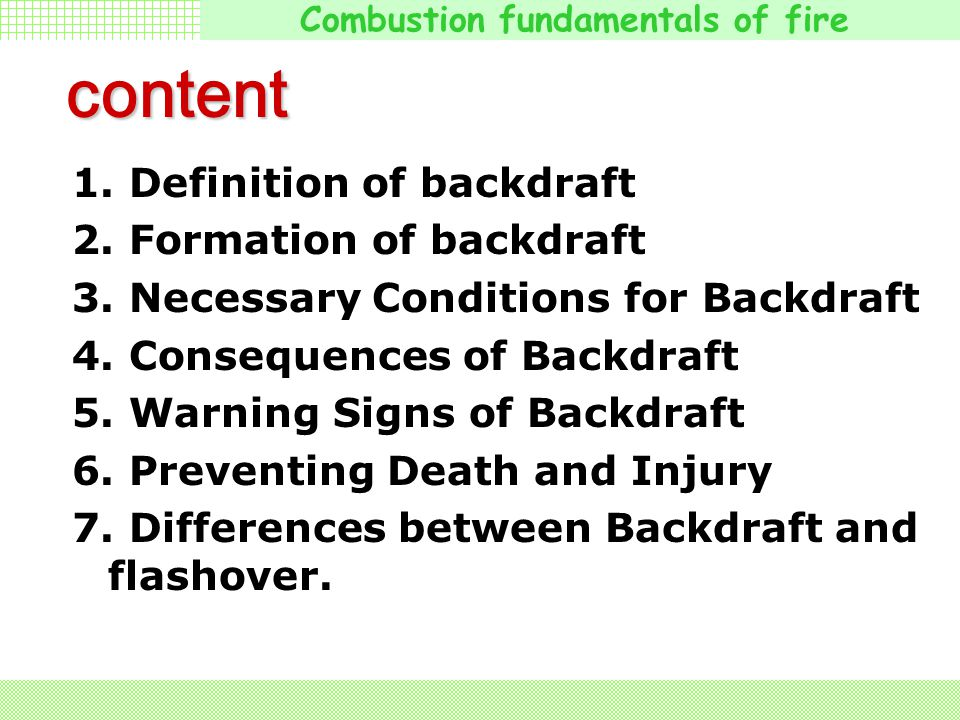 Combustion fundamentals of fire The Peru ( 秘鲁 ) firefighters force entry just prior to the backdraft Amazing Peru Backdraft! The Aftermath ( 后期 )!!! A