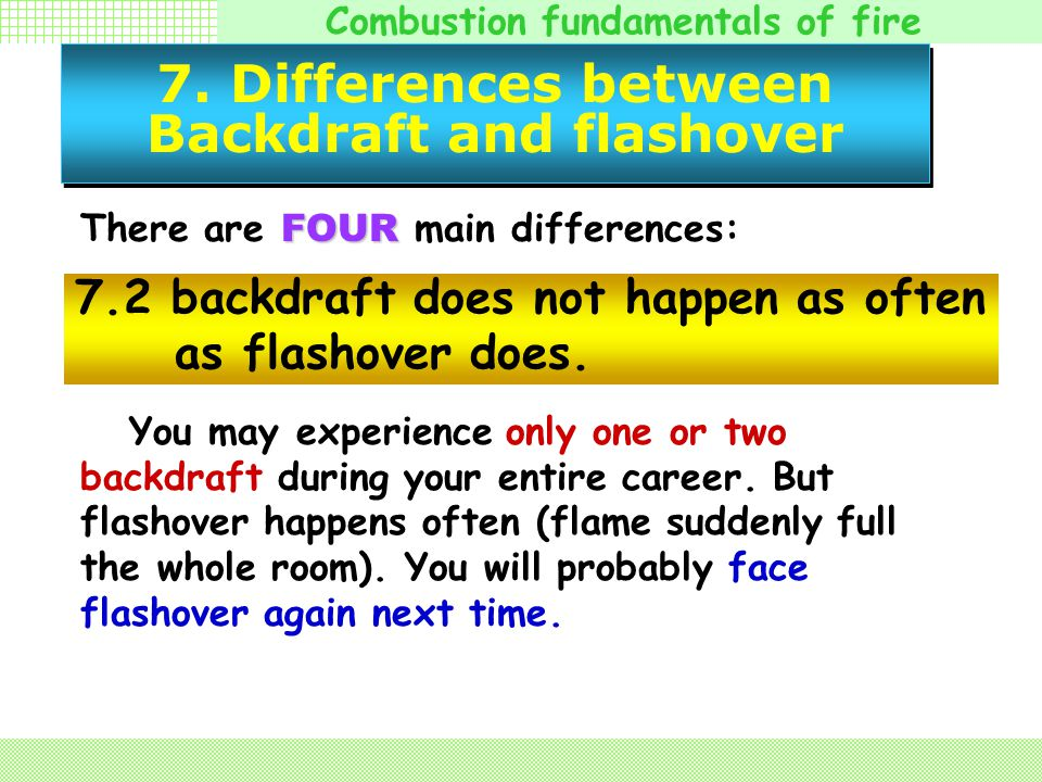 Combustion fundamentals of fire 7. Differences between Backdraft and flashover FOUR There are FOUR main differences: There will be shock waves ( 冲击波 )