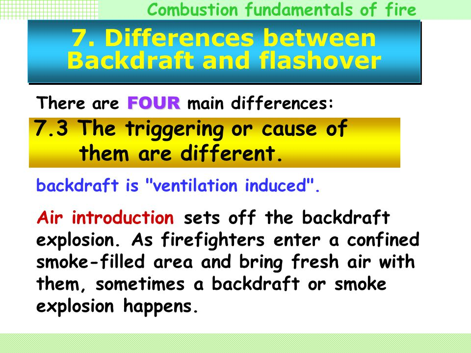 Combustion fundamentals of fire 7. Differences between Backdraft and flashover FOUR There are FOUR main differences: Basic scientific definitions of f