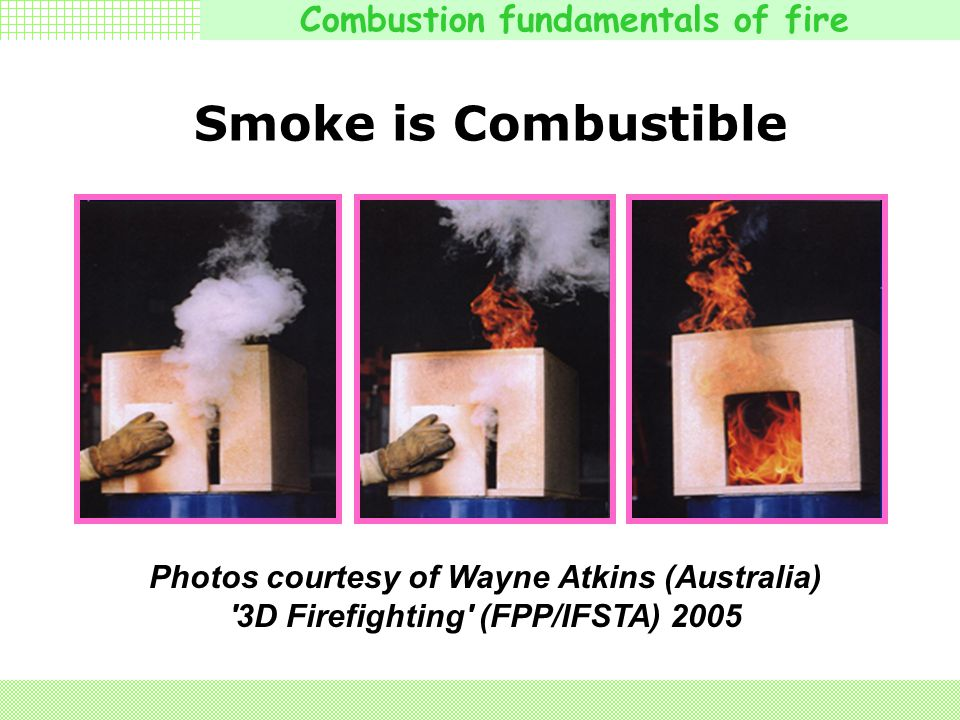 Combustion fundamentals of fire Smoke is Combustible Photos courtesy of Wayne Atkins (Australia) 3D Firefighting (FPP/IFSTA) 2005