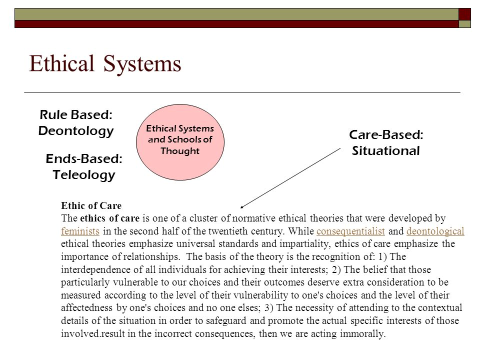 Ethical Systems and Schools of Thought Ethical Systems Teleology Teleological moral systems are characterized primarily by a focus on the consequences which any action might have (for that reason, they are often referred to as consequentalist moral systems, and both terms are used here).