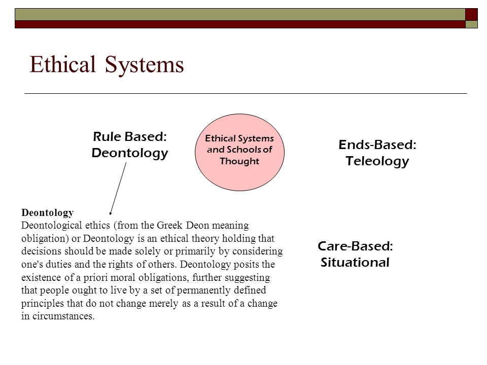 Ethical Systems and Schools of Thought Rule Based: Deontology Ends-Based: Teleology Care-Based: Situational Ethical Systems Deontology Deontological ethics (from the Greek Deon meaning obligation) or Deontology is an ethical theory holding that decisions should be made solely or primarily by considering one s duties and the rights of others.