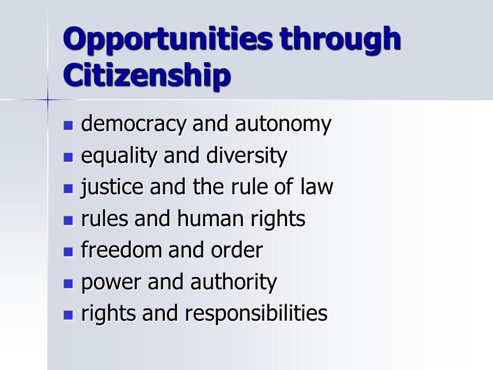 Opportunities through Citizenship democracy and autonomy democracy and autonomy equality and diversity equality and diversity justice and the rule of