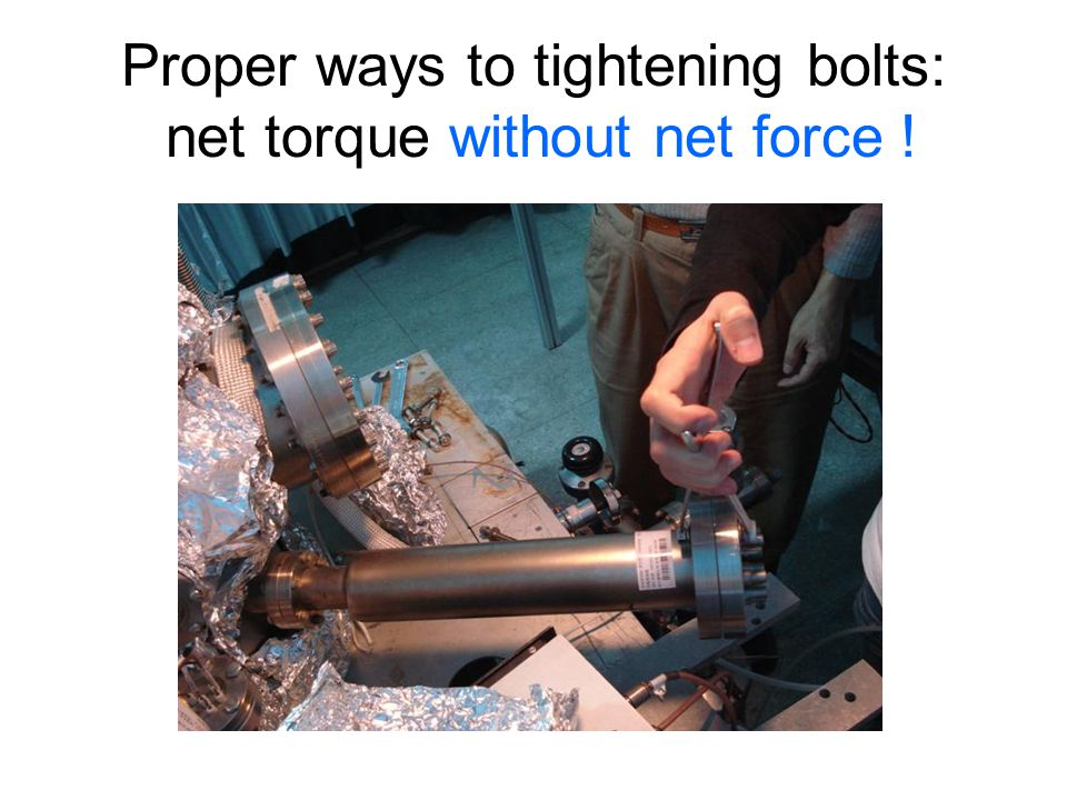 Proper ways to tightening bolts: net torque without net force !