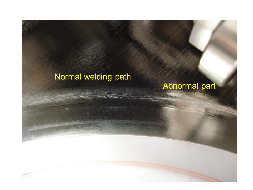 Cracked welding path