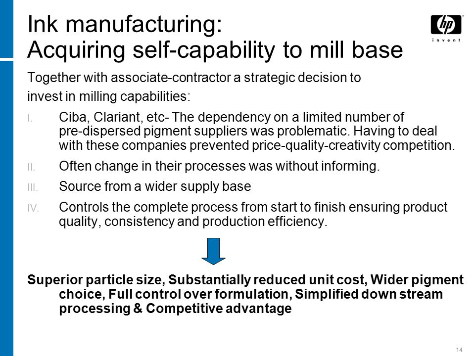 14 Ink manufacturing: Acquiring self-capability to mill base Together with associate-contractor a strategic decision to invest in milling capabilities:  Ciba, Clariant, etc- The dependency on a limited number of pre-dispersed pigment suppliers was problematic.