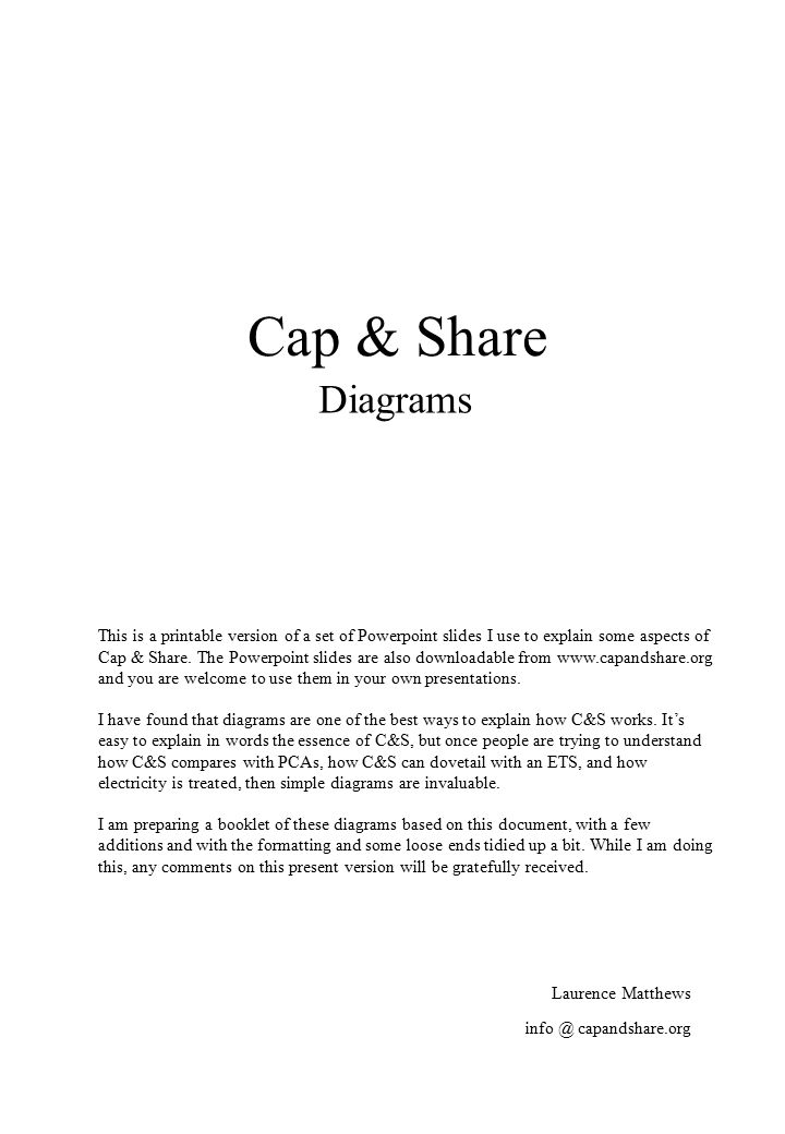 Cap & Share Diagrams Laurence Matthews This is a printable version of a set of Powerpoint slides I use to explain some aspects of Cap & Share.