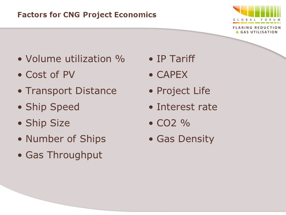 Factors for CNG Project Economics Volume utilization % Cost of PV Transport Distance Ship Speed Ship Size Number of Ships Gas Throughput IP Tariff CAP