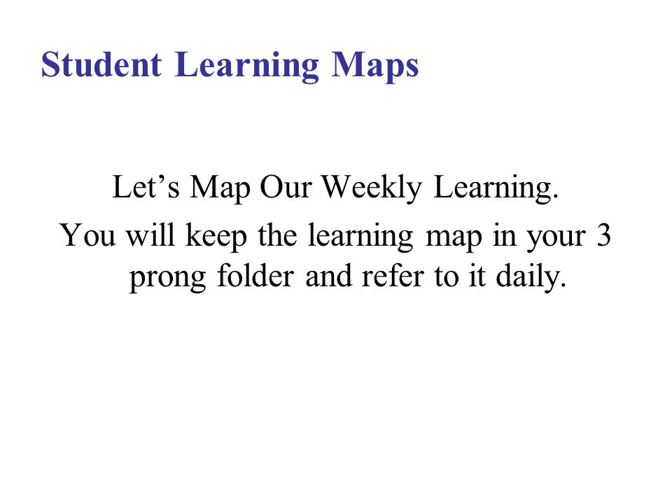 Student Learning Maps Let's Map Our Weekly Learning.