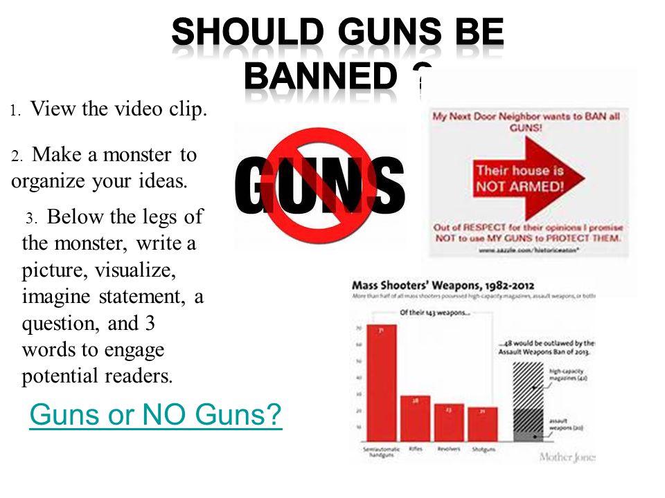 Guns or NO Guns. 1. View the video clip. 2. Make a monster to organize your ideas.