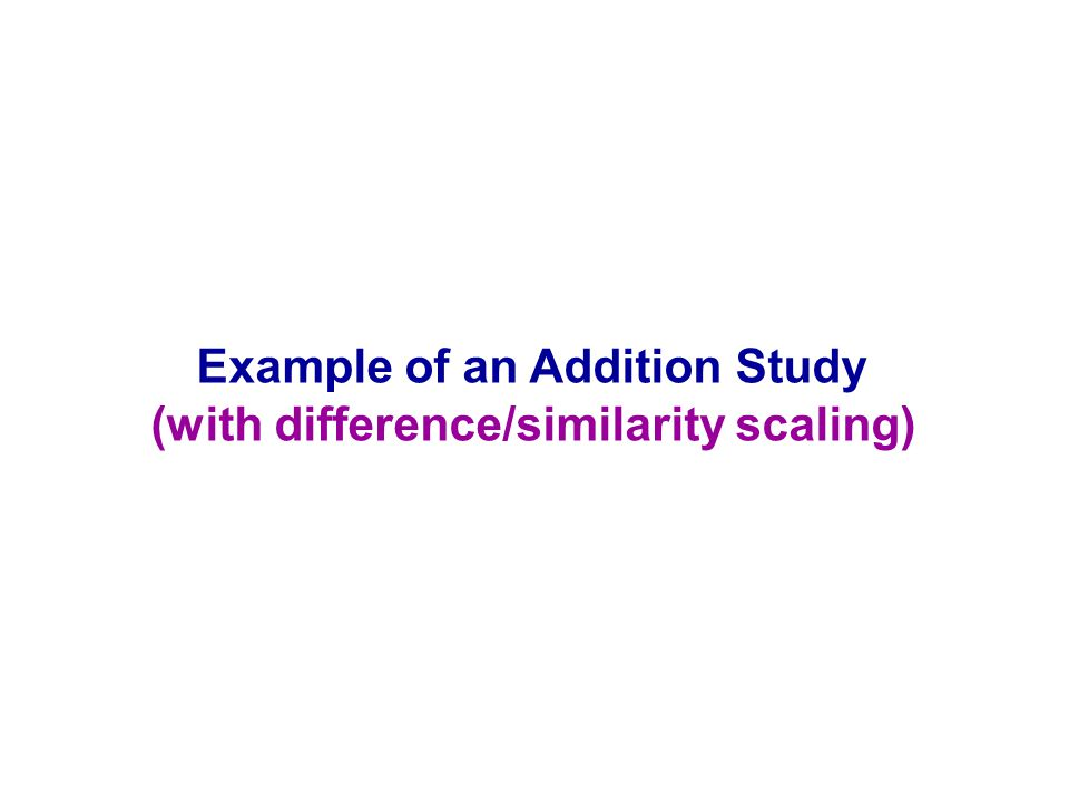 Example of an Addition Study (with difference/similarity scaling)