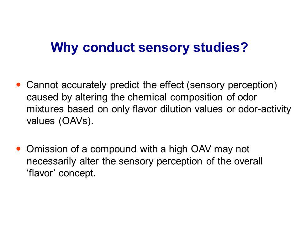 Why conduct sensory studies.
