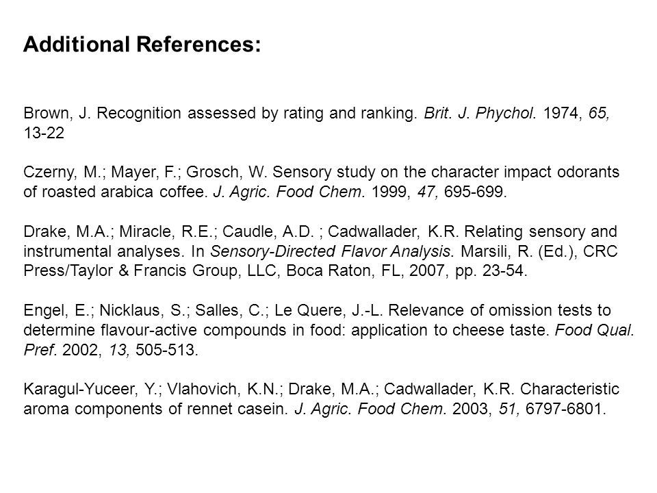 Additional References: Brown, J. Recognition assessed by rating and ranking.