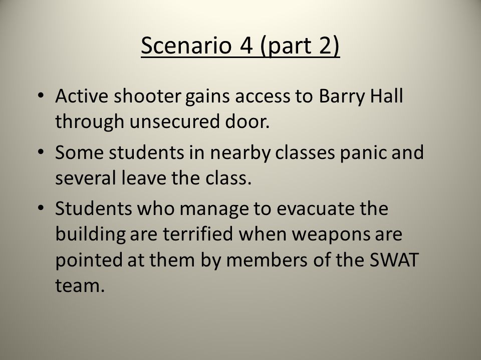 Scenario 4 (part 2) Active shooter gains access to Barry Hall through unsecured door.
