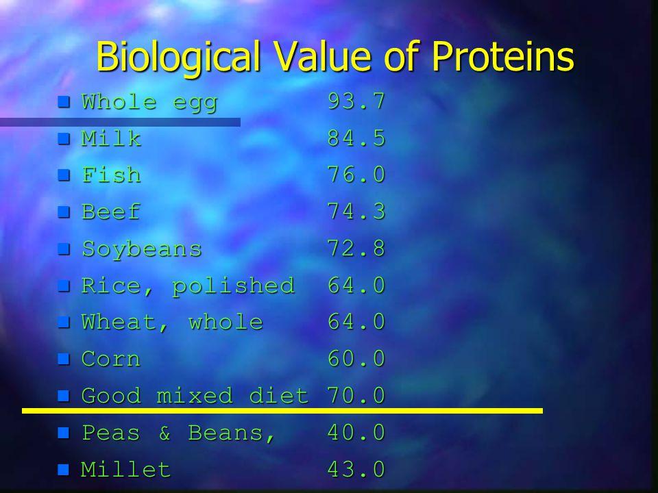 Biological Value of Proteins n Whole egg 93.7 n Milk 84.5 n Fish 76.0 n Beef 74.3 n Soybeans 72.8 n Rice, polished 64.0 n Wheat, whole 64.0 n Corn 60.0 n Good mixed diet 70.0 n Peas & Beans, 40.0 n Millet 43.0