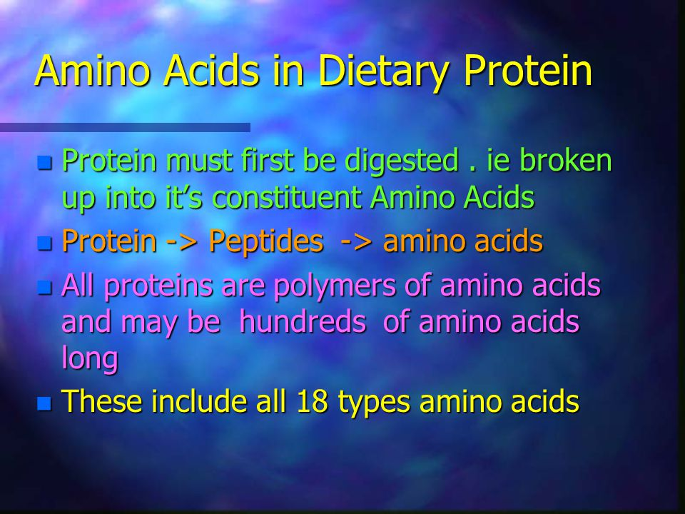 Amino Acids in Dietary Protein n Protein must first be digested. ie broken up into it's constituent Amino Acids n Protein -> Peptides -> amino acids n