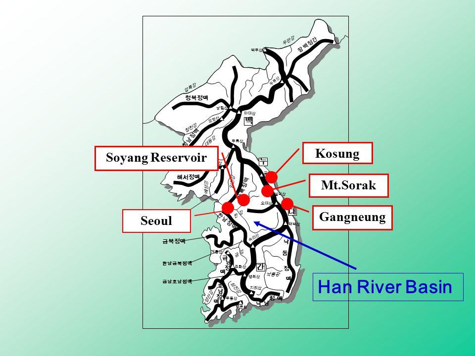Seoul Soyang Reservoir Mt.Sorak Gangneung Kosung Han River Basin