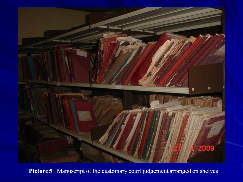 Picture 5: Manuscript of the customary court judgement arranged on shelves