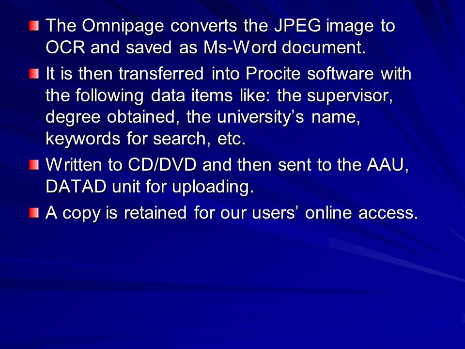 The Omnipage converts the JPEG image to OCR and saved as Ms-Word document.